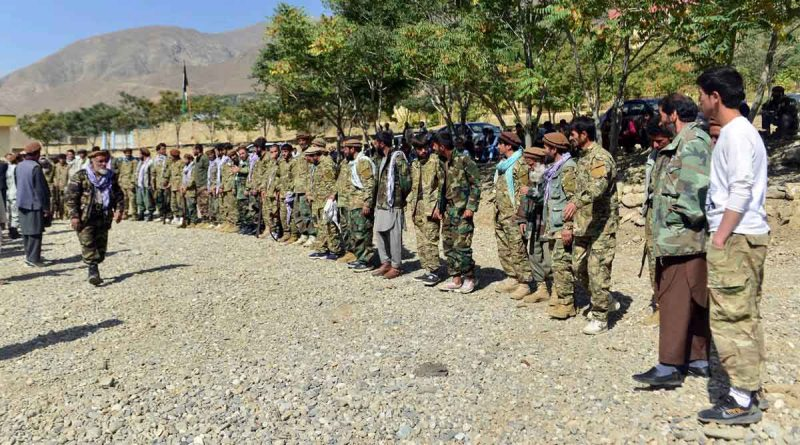 Militiamen loyal to Ahmad Massoud, son of the late Ahmad Shah Massoud, take part in a training exercise, in Panjshir province, northeastern Afghanistan. (AP)